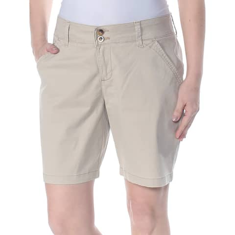 LEE Womens Beige Zippered Pocketed Dual Button Bermuda Short Petites Size: 6
