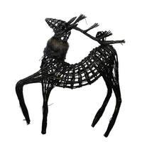 3' Commercial Glittery Dark Brown and Black Wicker Walking Reindeer Christmas Figure