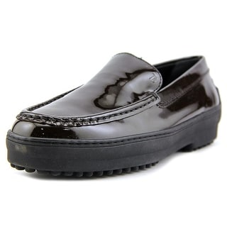 Tod's Gommini Cassetta Pantofola Youth Round Toe Patent Leather Brown Loafer