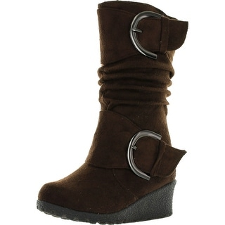 Lucky Top Girls Suede Wedge Heel Boots With Buckle Accent Pure 2K
