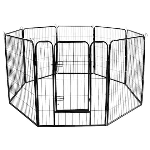 Global Pronex Pet Playpen Portable 8-panel Heavy Duty Metal Dog Exercise Fence Barrier Playpen KennelOutdoor & Indoor