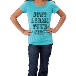 Roper Western Shirt Girls Tee Pullover Solid Turq 03-009-0514-4025 BU