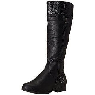 Easy Street Womens Burke Faux Leather Knee-High Riding Boots