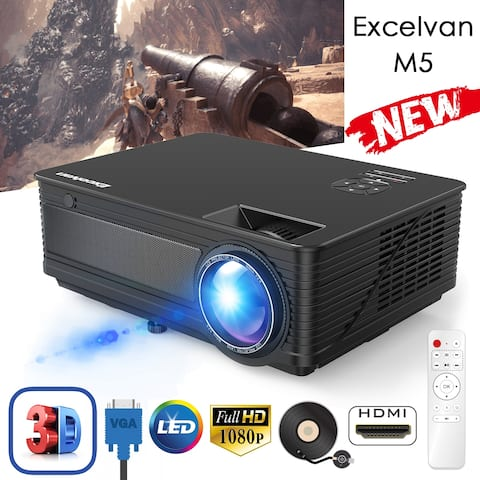 """Excelvan +30% Lumens 2018 Upgraded M5 LED Projector 120"""" HD Video Display Support Full HD 1080P"""