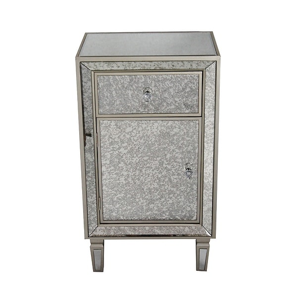 1-Drawer, 1-Door Antiqued Mirror Tall Accent Cabinet - Mdf, Wood - Shop 1-Drawer, 1-Door Antiqued Mirror Tall Accent Cabinet - Mdf