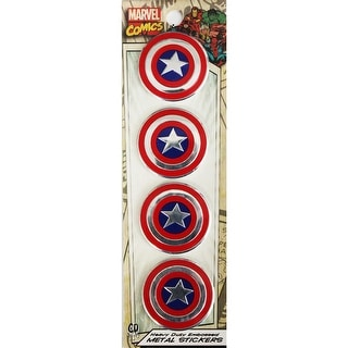 "Marvel Licensed Heavy Duty Embossed Metal Stickers 4/Pkg-Captain America 1.125""X1.125"""