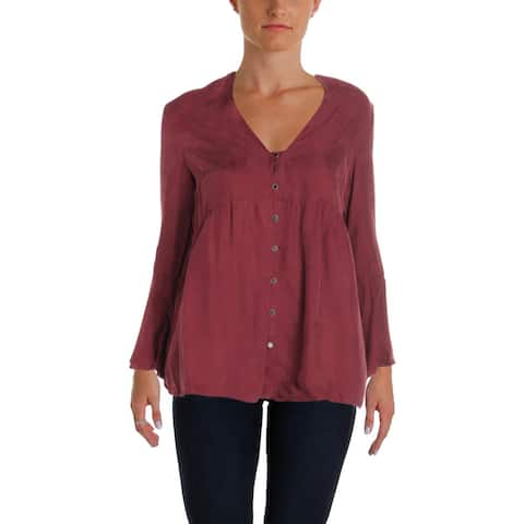 4Our Dreamers Womens Button-Down Top V-Neck Bell Sleeves