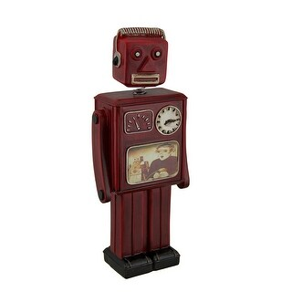 Red Vintage Finish Retro Bobble Head Robot Coin Bank 10 Inch