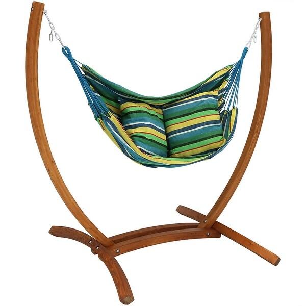 Sunnydaze Hanging Hammock Chair Swing with Wooden Stand - Ocean Breeze