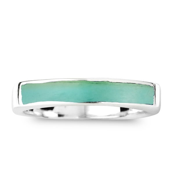 Handmade Rectangular Bar Stone Inlay Sterling Silver Ring (Thailand). Opens flyout.