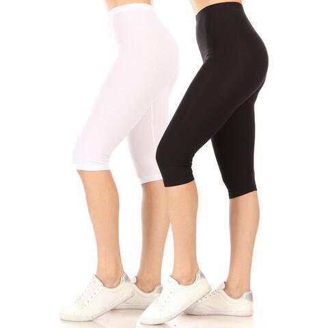 Women's High Waist Casual Solid Slim Capri Legging Pants (Pack of 2)