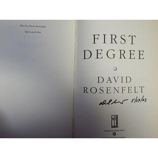 Signed Rosenfelt David First Degree First Degree First Edition Hardcover Book on the inside cover p