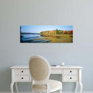Easy Art Prints Panoramic Images's 'Trees in a forest at the lakeside, Ontario, Canada' Premium Canvas Art