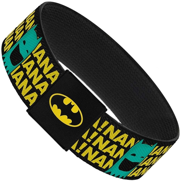 Batman Face & Logo Sketch Nanana! Black Yellow Aqua Elastic Bracelet