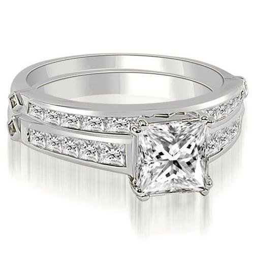 2.20 cttw. 14K White Gold Channel Set Princess Cut Diamond Bridal Set