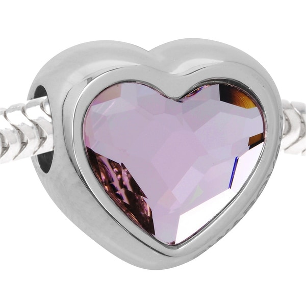 Swarovski Crystal BeCharmed, European Style Large Hole Heart Bead 14mm, 1 Piece, Rosaline