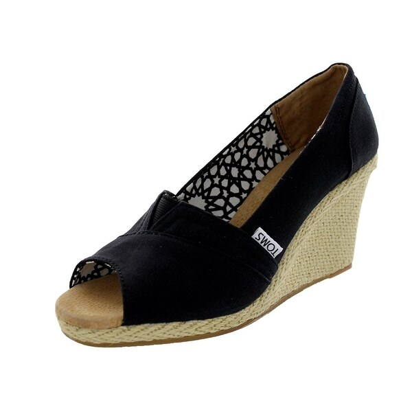 TOMS Women's Classic Wedge Sandal, Black Canvas, Size 10.0 - 10