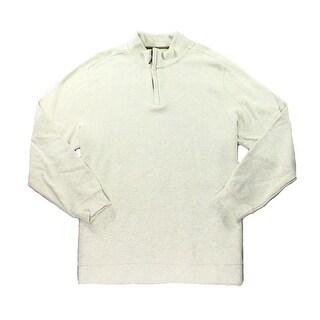 Tasso Elba NEW Beige Mens Size 3XL 1/2 Zip Mock-Neck Knit Sweater