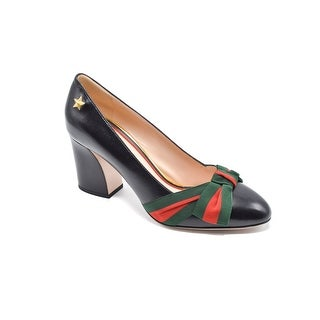 Gucci Aline Grosgrain Bow & Leather Block-Heel Pumps Size 7.5