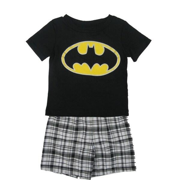 DC Comics Baby Boys Black Batman Logo Tee Plaid 2 Pc Shorts Set