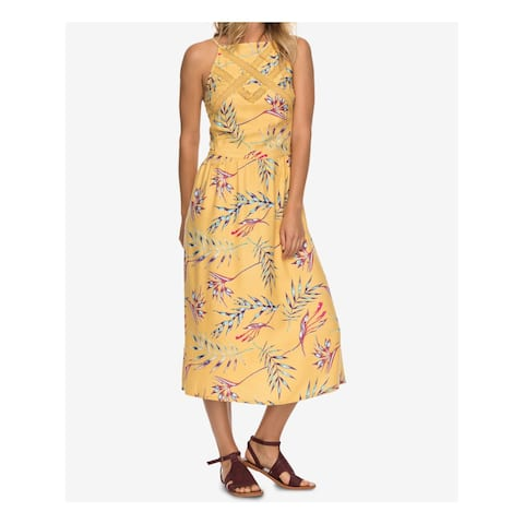 ROXY Womens Yellow Printed Lace Inset Sleeveless Boat Neck Midi A-Line Party Dress Juniors Size: S