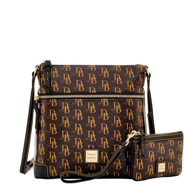 Dooney & Bourke 1975 DB Signature Crossbody & Med Wristlet (Introduced by Dooney & Bourke at $248 in Feb 2017) - brown tmoro