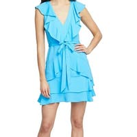 Rachel Rachel Roy Blue Womens Size 6 Ruffle Trim Sheath Dress