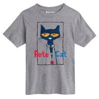 Pete The Cat  Frame With Button  - Youth Short Sleeve Tee