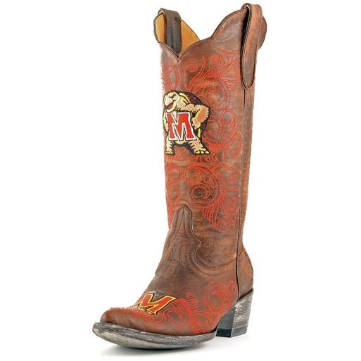 Gameday Boots Womens College Team Maryland Terps Brass Red