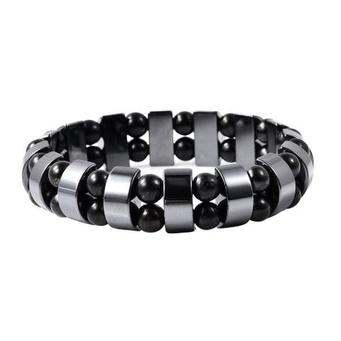 Shop LC Hematite Black Shungite Stretch Bracelet Size 6.5 Inch Ct 180 - Bracelet 6.5''