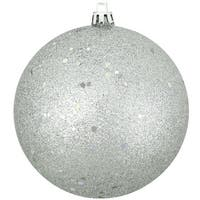 "Shatterproof Silver Splendor Holographic Glitter Christmas Ornament 4"" (100mm)"