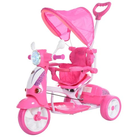 Qaba Children Ride-On Moped Tricycle with an Interesting/Stylish Design & Interactive Music & Lighting Functions, Pink
