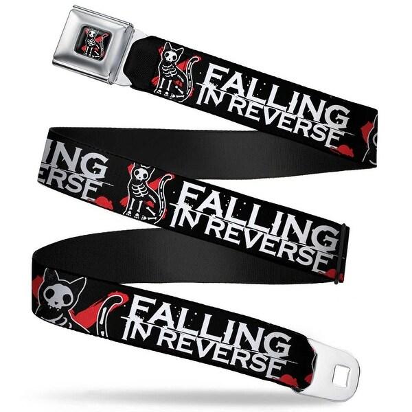 Falling In Reverse Skeleton Cat & Mouse Full Color Black White Red Falling Seatbelt Belt