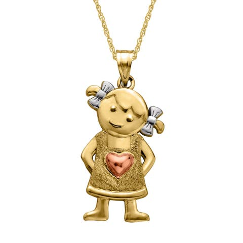 Just Gold Girl Pendant with Heart & Bow in 14K Three-Tone Gold - Tri-Color