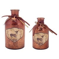 "Pack of 8 Copper Decoupage Mercury Glass Bottle with Star Christmas Decorations 6""-7.5"""
