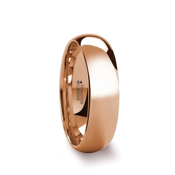 SOL Traditional Domed Rose Gold Plated Tungsten Carbide Wedding Ring