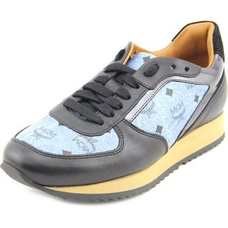 MCM Monogram Trainer Men Round Toe Leather Sneakers