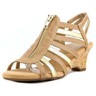 Aerosoles Half Dozen Women W Open Toe Synthetic Tan Wedge Sandal