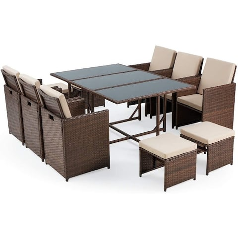 Patio Dining Set Outdoor, Wicker Rattan Chairs, Glass Table