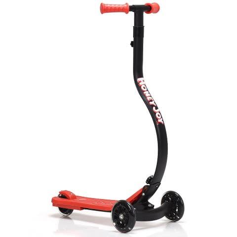 Folding Kids C Shape Anti-Collision Adjustable Kick Scooter -Red