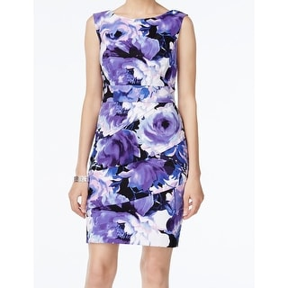 Connected Apparel NEW Purple Floral Printed Women Size 14 Tiered Dress