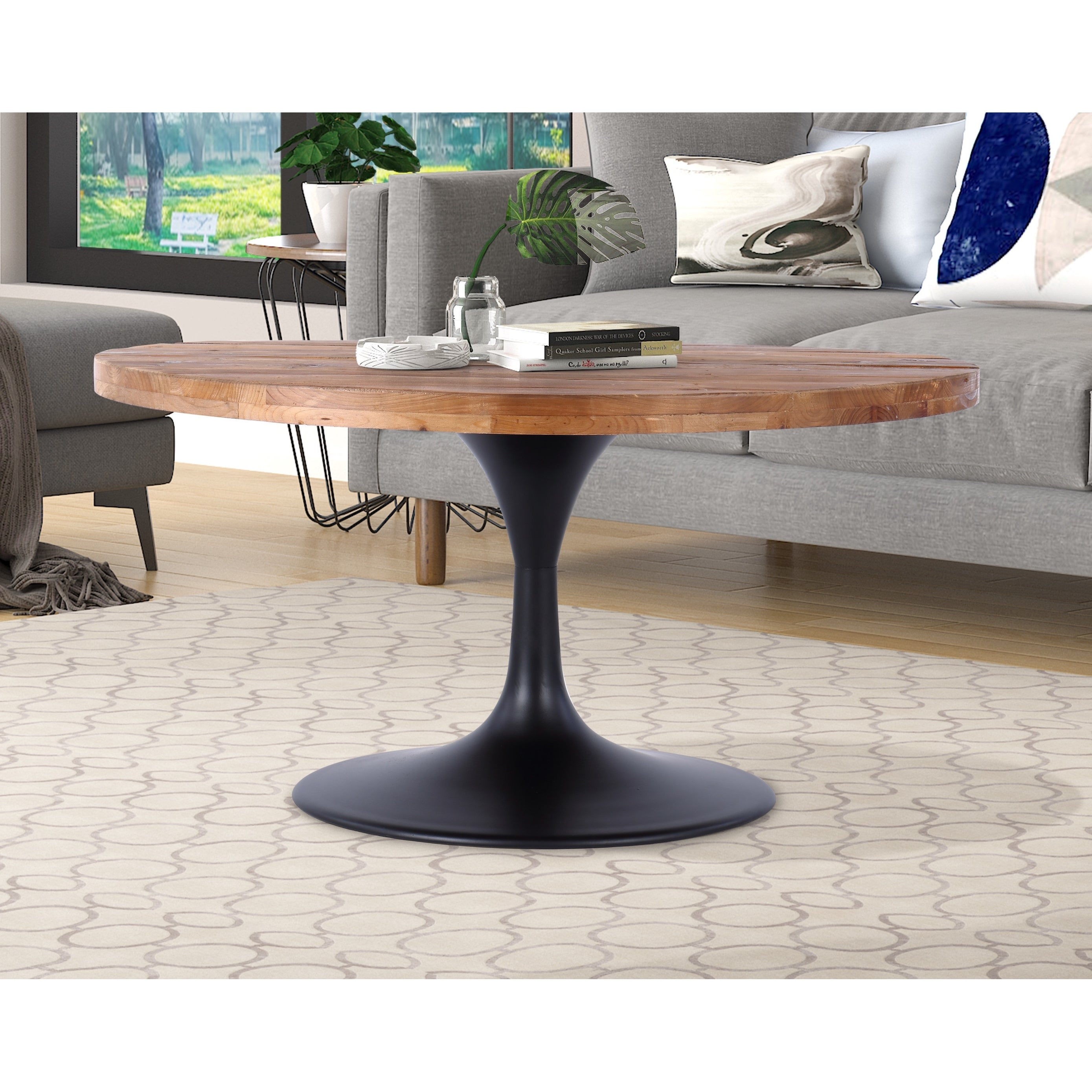 Camberwell 36 Round Reclaimed Wood And Metal Pedestal Coffee Table Overstock 32067404