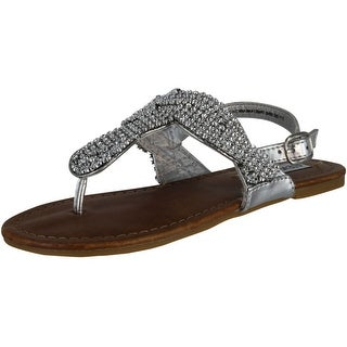 Steve Madden Girls Sheik Fashion Bling Sandals - Silver - 13 m us little kid