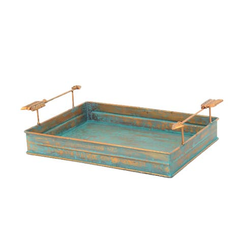 HiEnd Accents Turquoise Patina Tray with Arrow Design