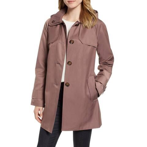 London Fog Womens Raincoat Adobe Brown Medium M Removable Hood Longline