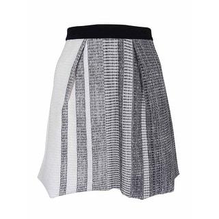 RACHEL Rachel Roy Women's Textured Pleated A-Line Skirt - black combo - M