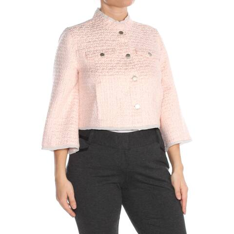 RACHEL ROY Womens Pink Cropped Tweed Wear to Work Jacket Size L