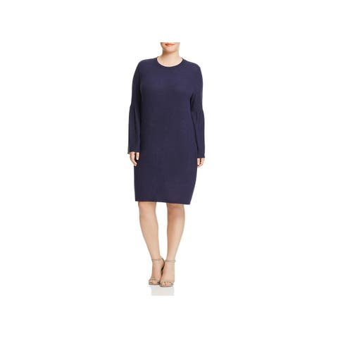 Bobeau Womens Plus Sweaterdress Bell Sleeves Shift