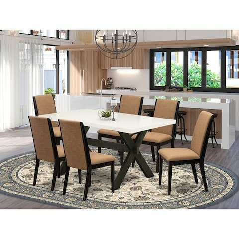 X626LA147-5 5-Piece Modern Dining Table Set a Linen White Wood Dining Table and 4 Linen Fabric Padded Parson Chairs