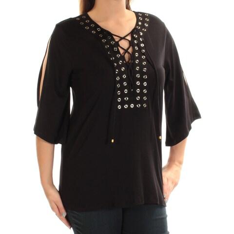 MICHAEL KORS Womens New 1314 Black Eyelet Jewel Neck 3/4 Sleeve Casual Top L B+B